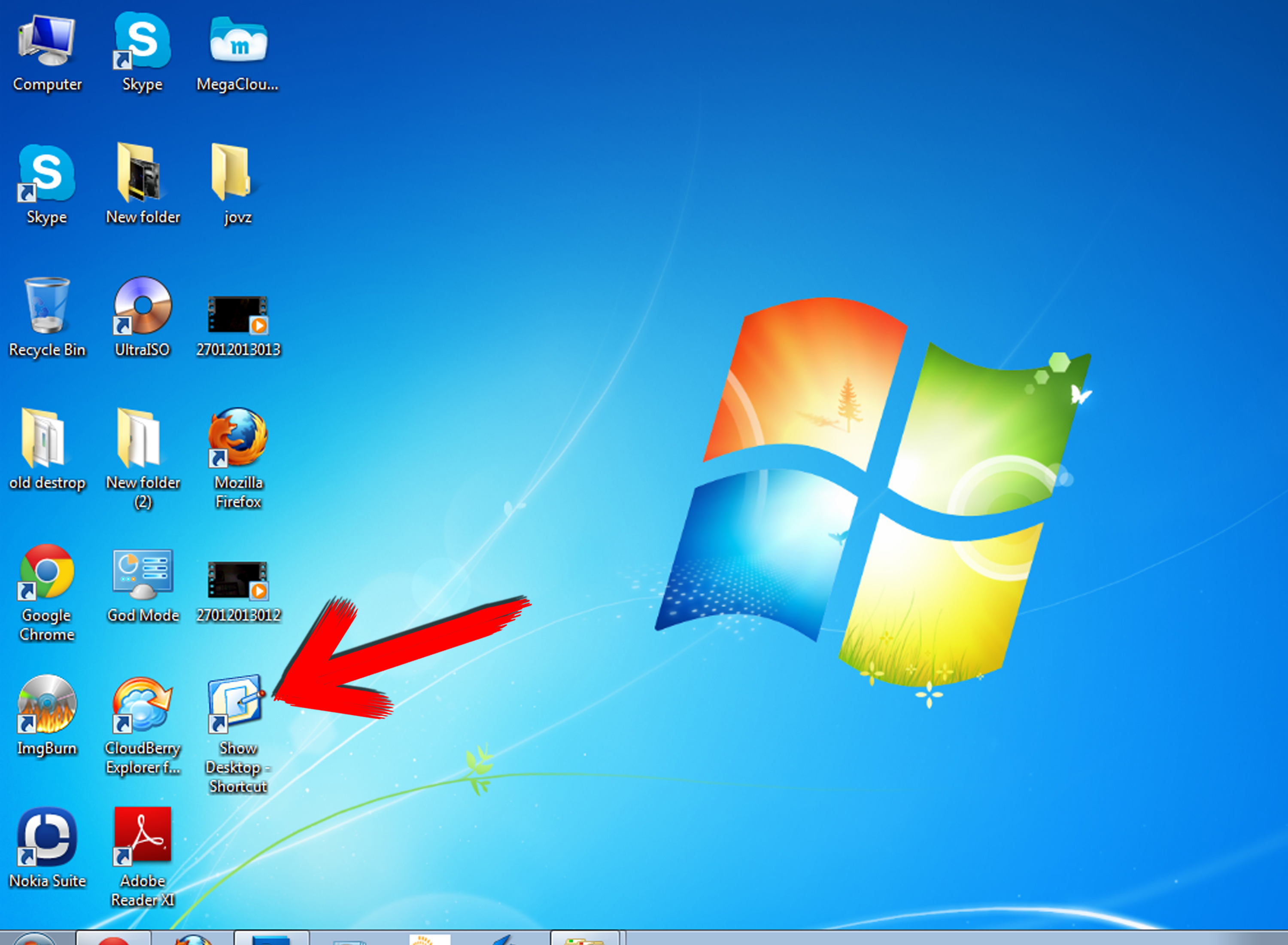 Windows 7 Show Desktop Toolbar