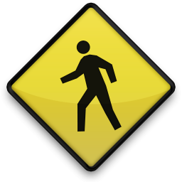 Yellow Sign with Person Walking
