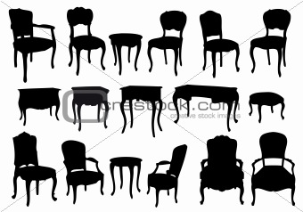 19 Vintage Table And Chairs Vector Images