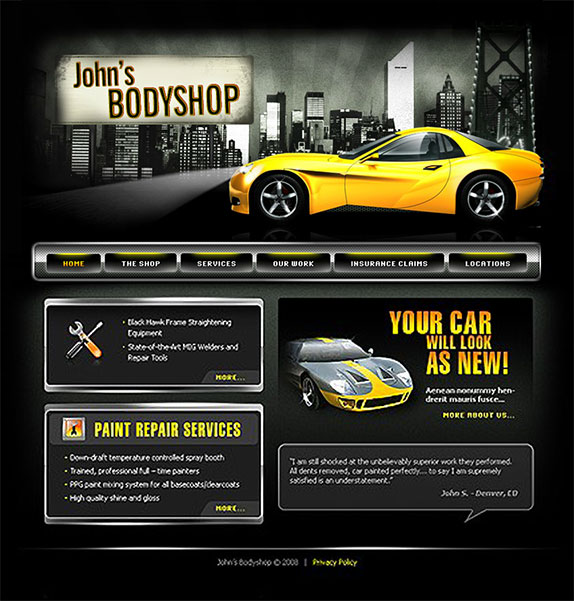 Auto Repair Shop Website Design