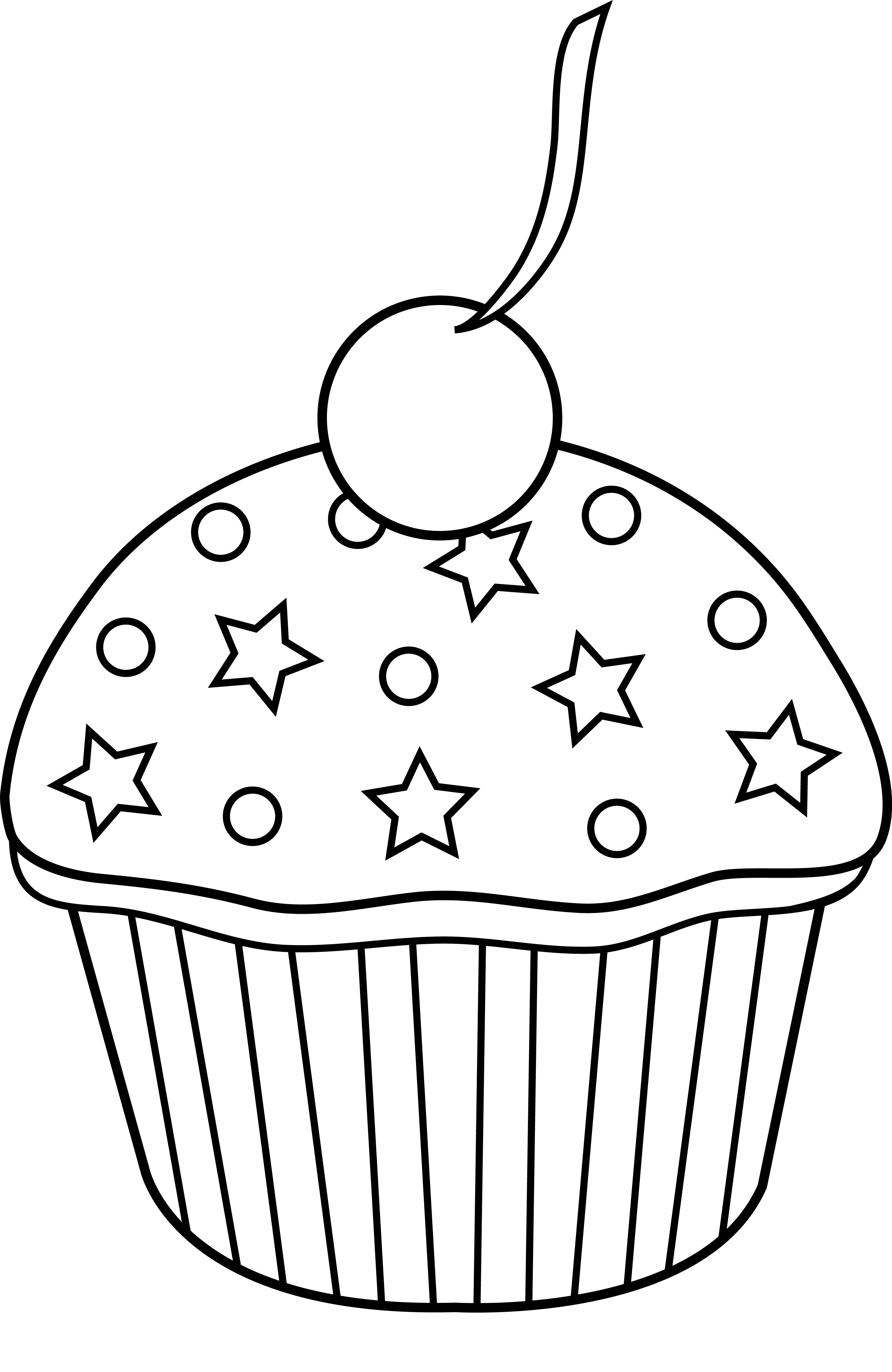 Black and White Cupcake Clip Art Free