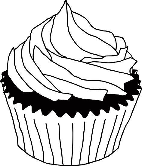 Black and White Cupcake Clip Art