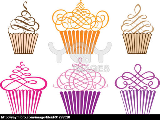 Black and White Cupcake Vectors