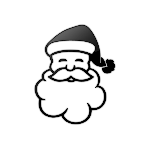Black and White Santa Icon