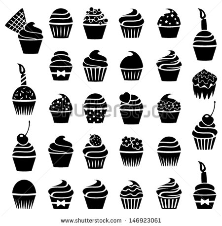 20 Black And White Cupcake Vector Art Images