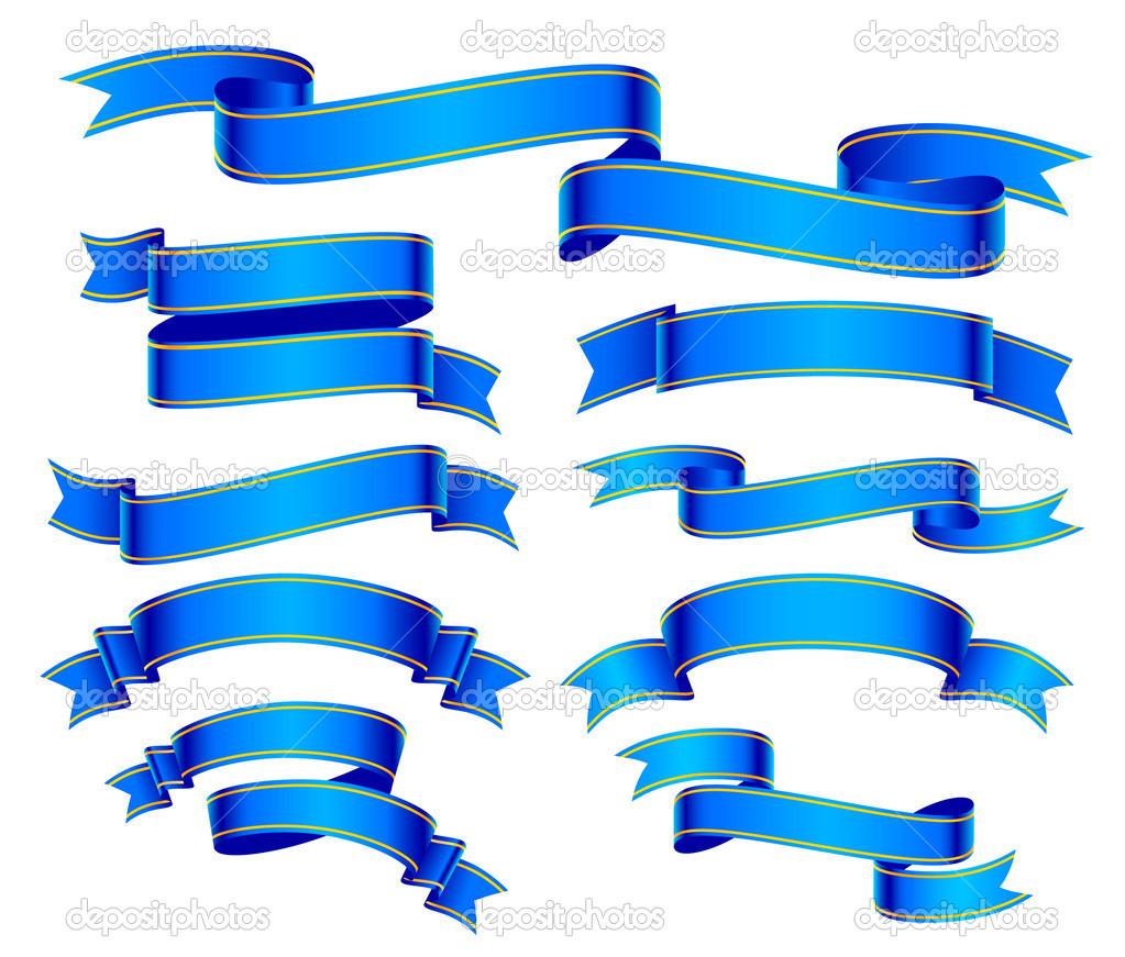 Blue Ribbon Banner Vector