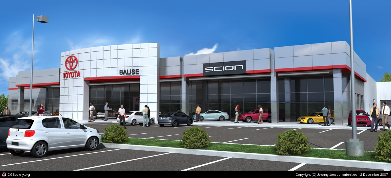 Car Dealership 3D Rendering