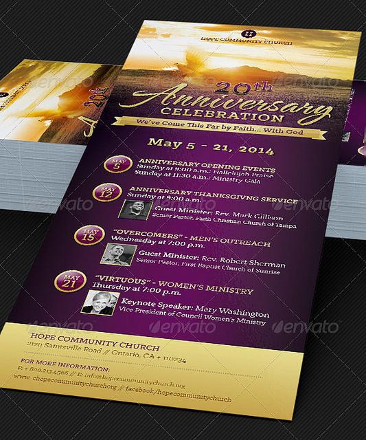 Church Anniversary Event Flyer Templates