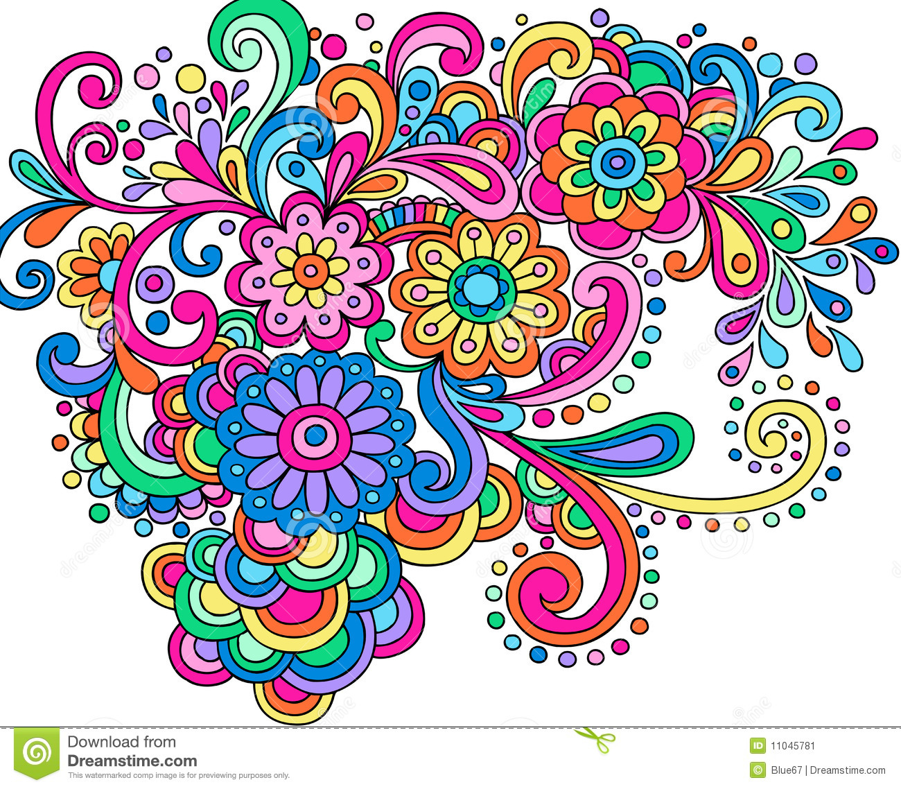 13 Rainbow Swirl Floral Vector Images