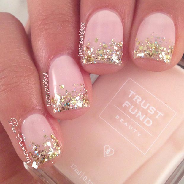 Gold Glitter Tip Nails with Design