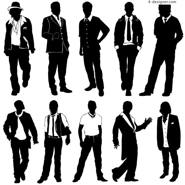 10 Casual Man Vector Silhouette Images