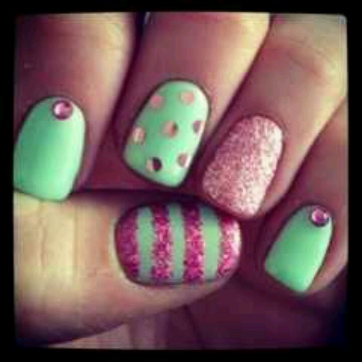 15 Pretty Pink And Green Nail Art Designs Images Pink Lace Nails