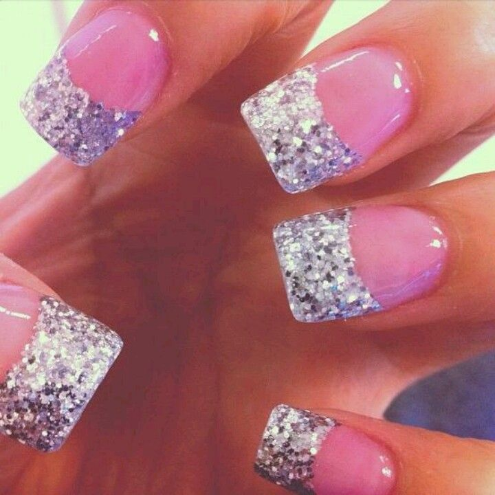 Pink Glitter French Tip Nail Designs