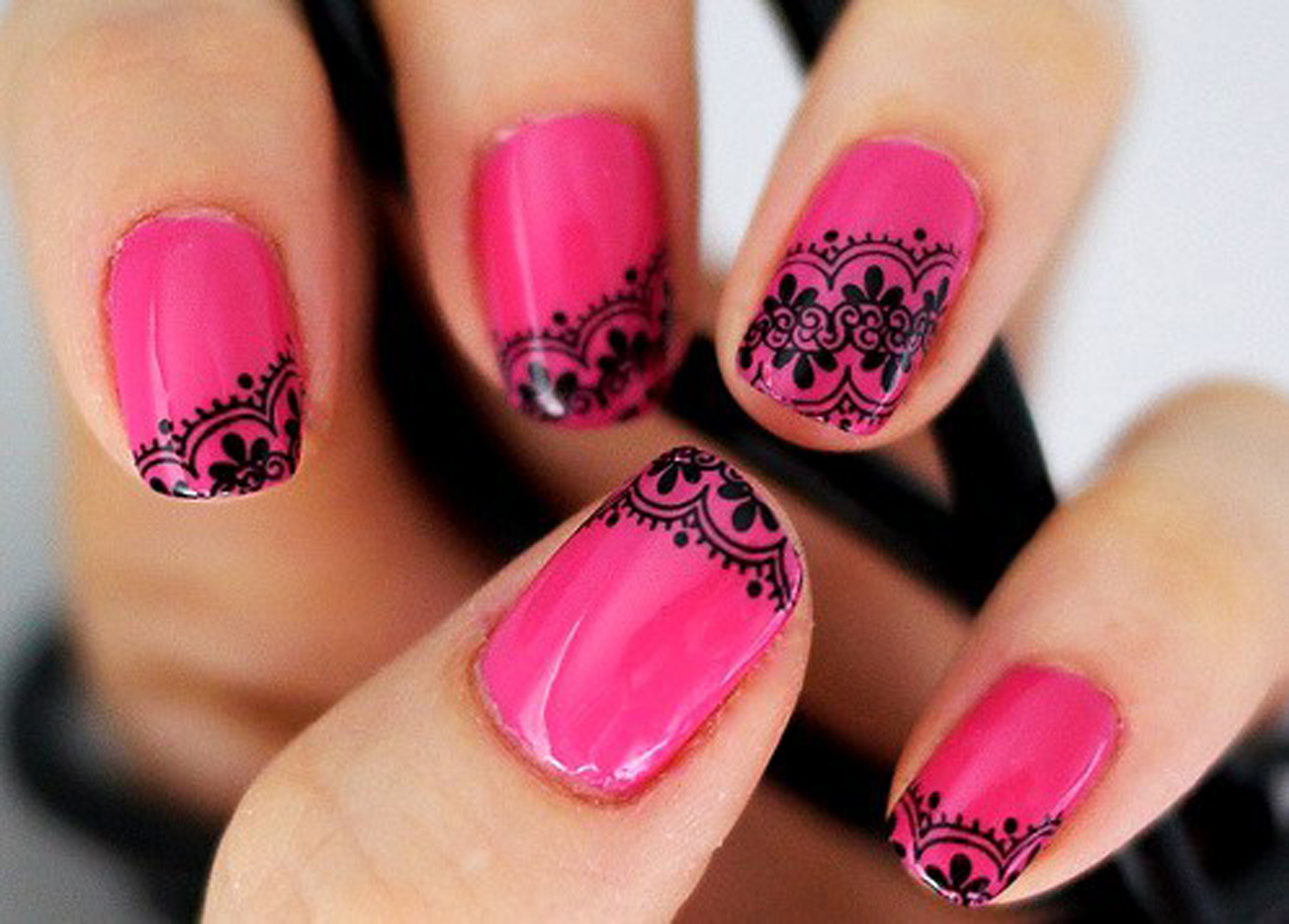 15 Pretty Pink And Green Nail Art Designs Images