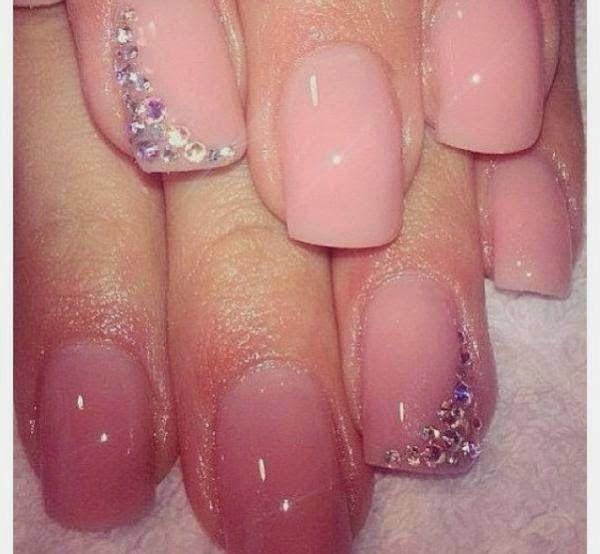 Pink Rhinestone Nails