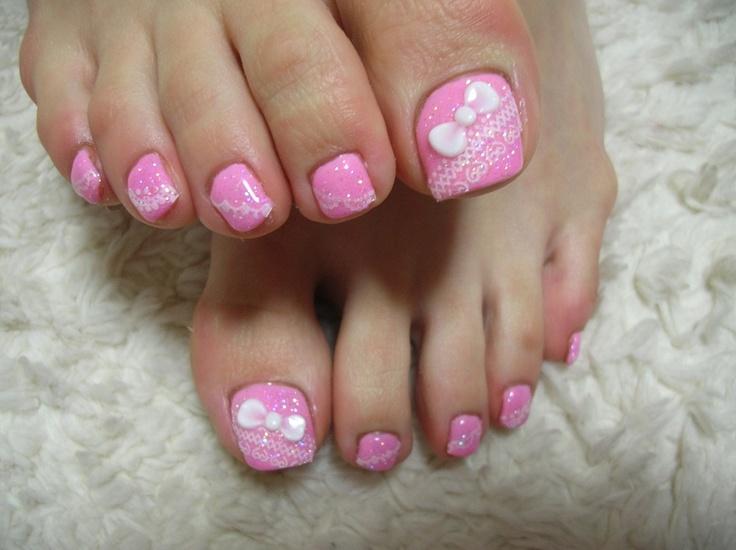 pink toenail design