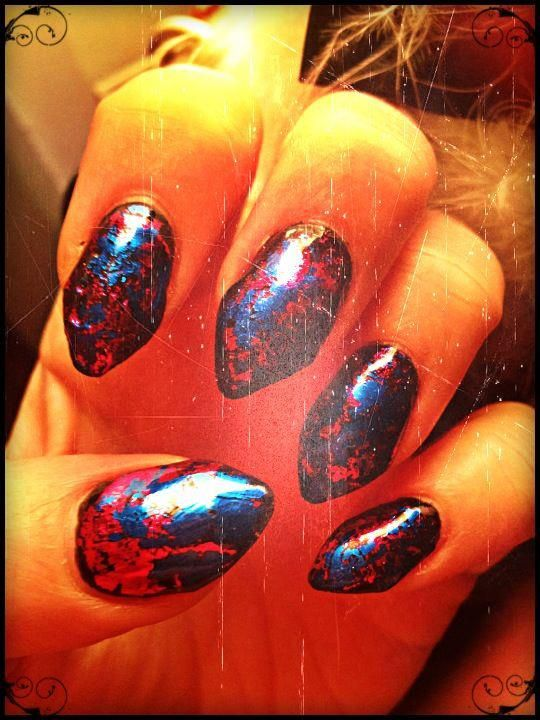 Pointed Nail Tips with Designs