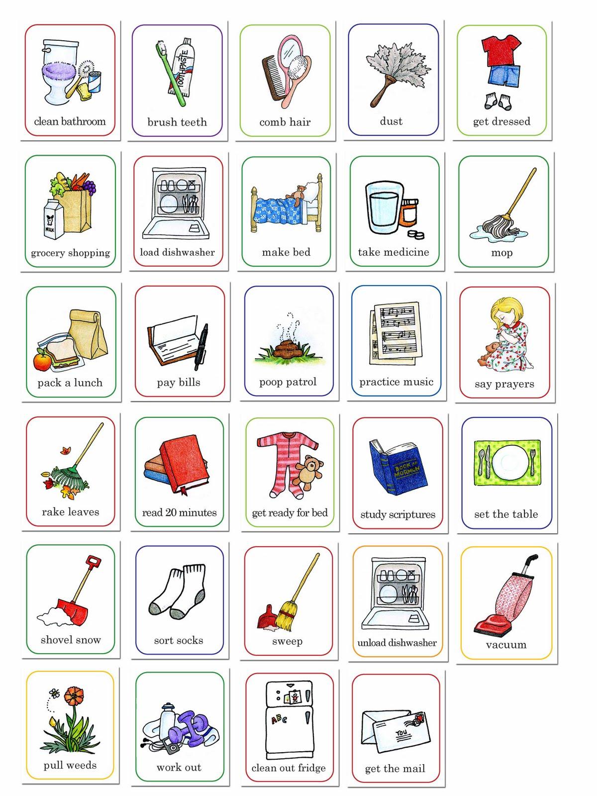 Preschool Chore Chart Clip Art