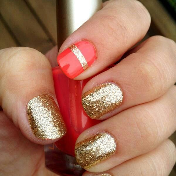 Red and Gold Glitter Nails