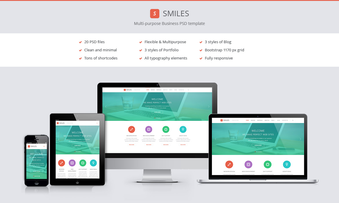 16 responsive web design template psd images free for Free responsive website templates