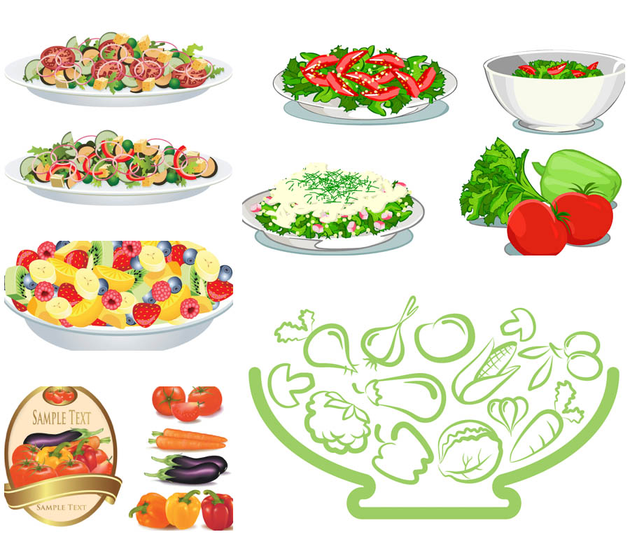 16 Salad Vector Graphics Images