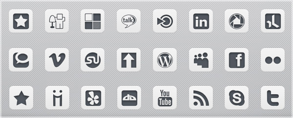 16 Grey Square Social Media Icons Images