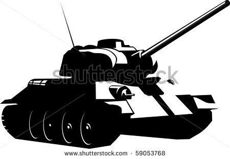 Tank Battle Art Black and White