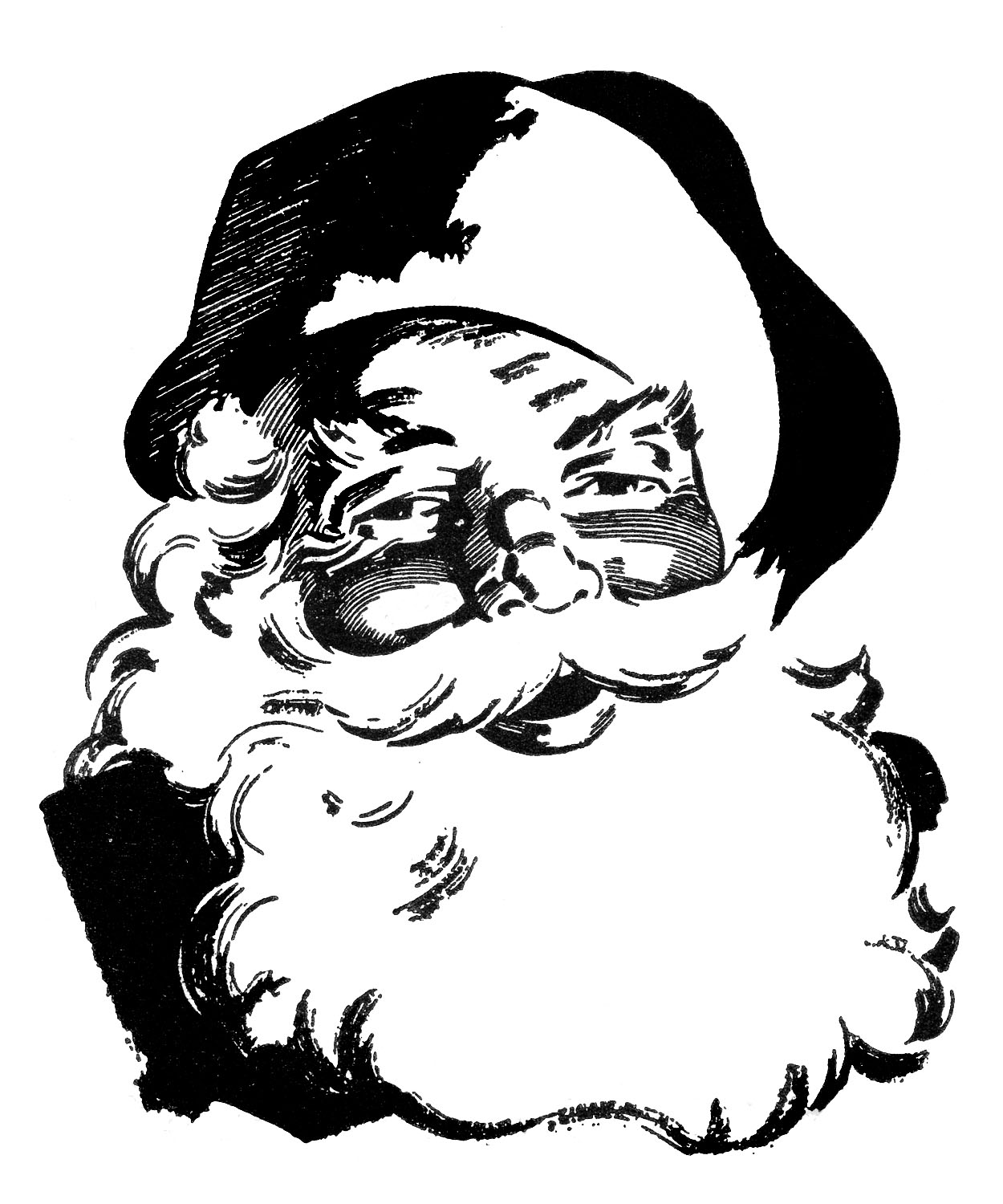 Vintage Santa Claus Clip Art Black and White