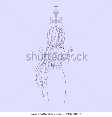 Woman Praying Hands Vector