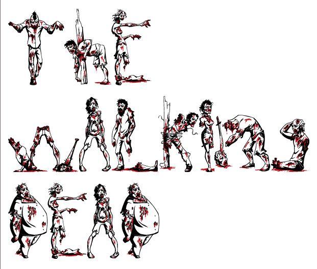 Zombie Letters Font Alphabet