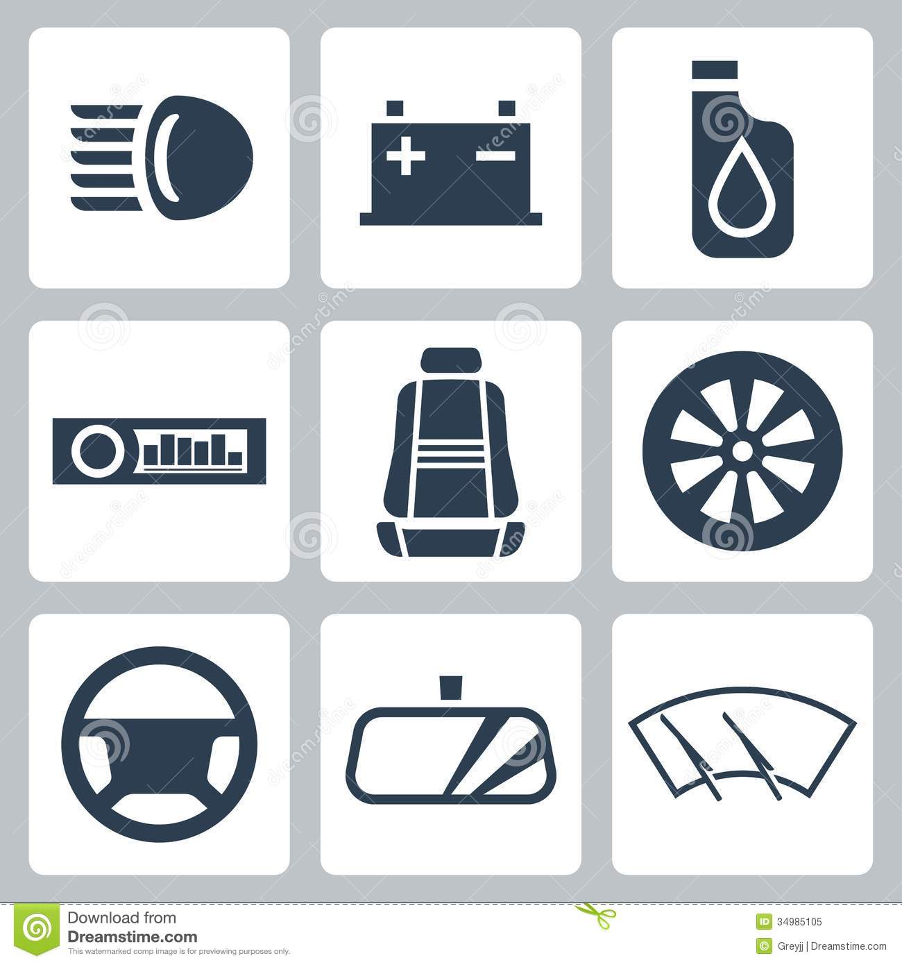 Auto Parts Vector Icons Set