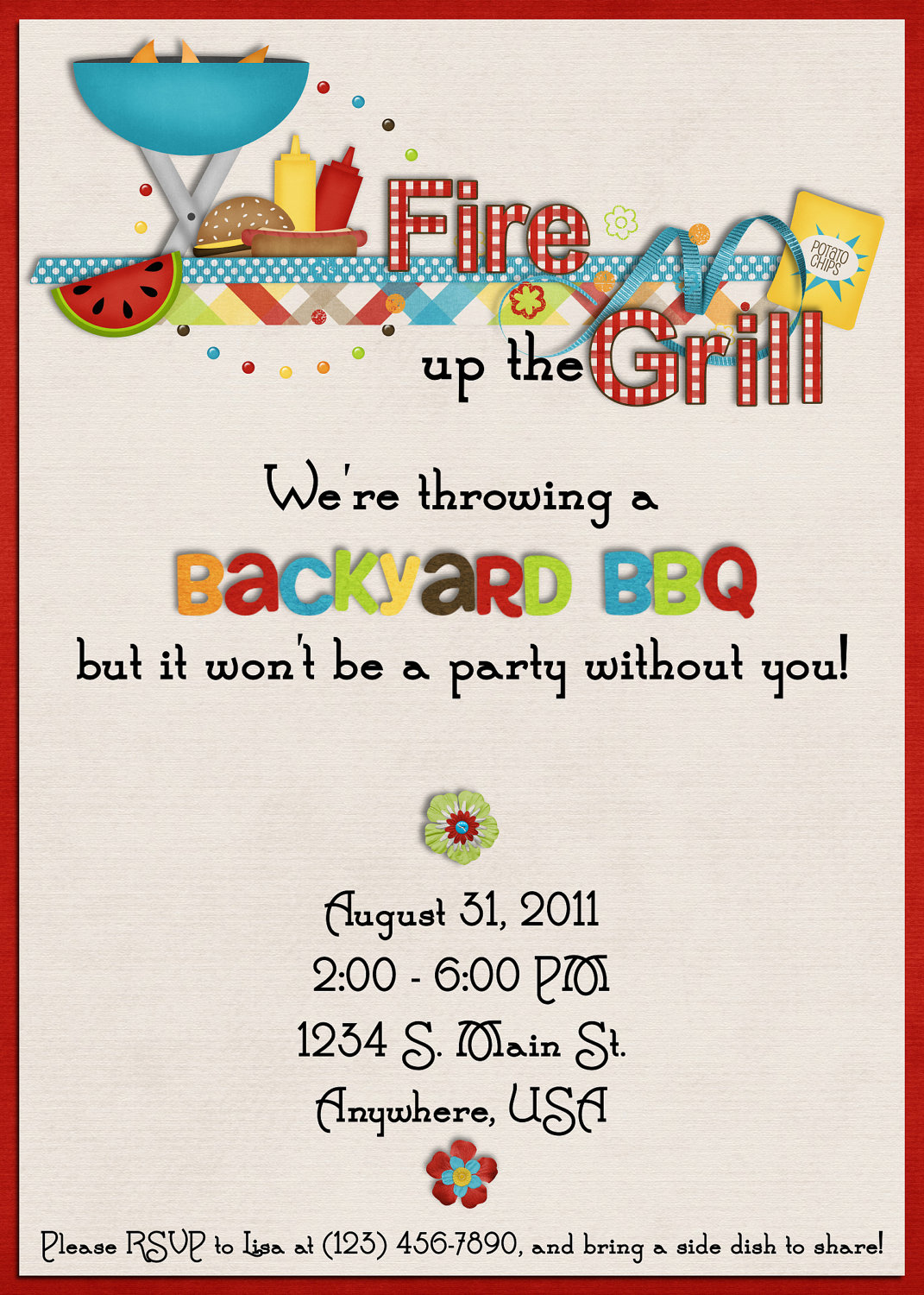 Summer Backyard Party Invitation : Cookout Invitations Template Images  Free Cookout Invitation