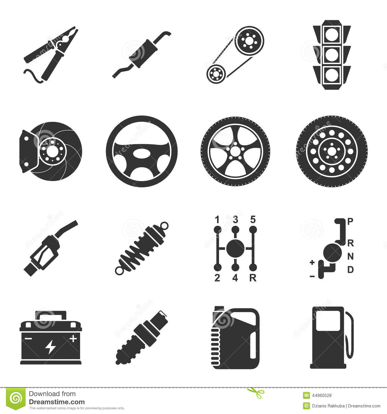 Black and White Car Parts