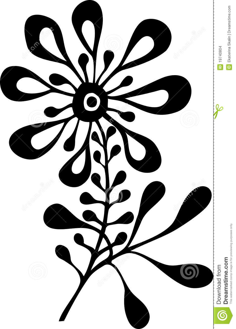 Black and White Flower Vector