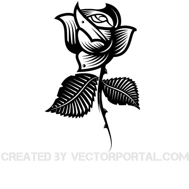 Black Flower Vector Clip Art