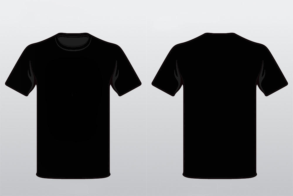 18 Black T- Shirt Template Vector Images