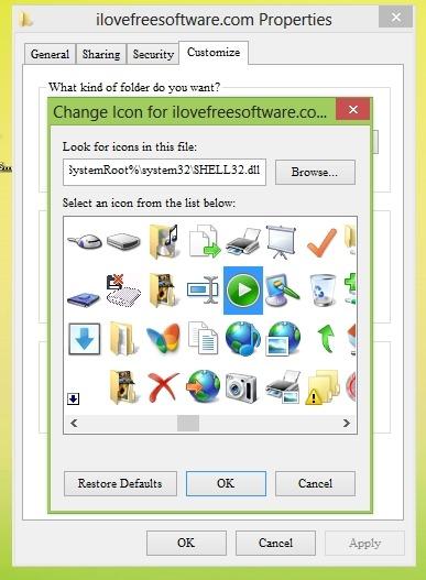 Change Default Icons Windows 8