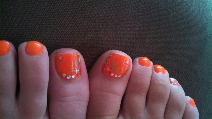 Cute Orange Toe Nail Designs