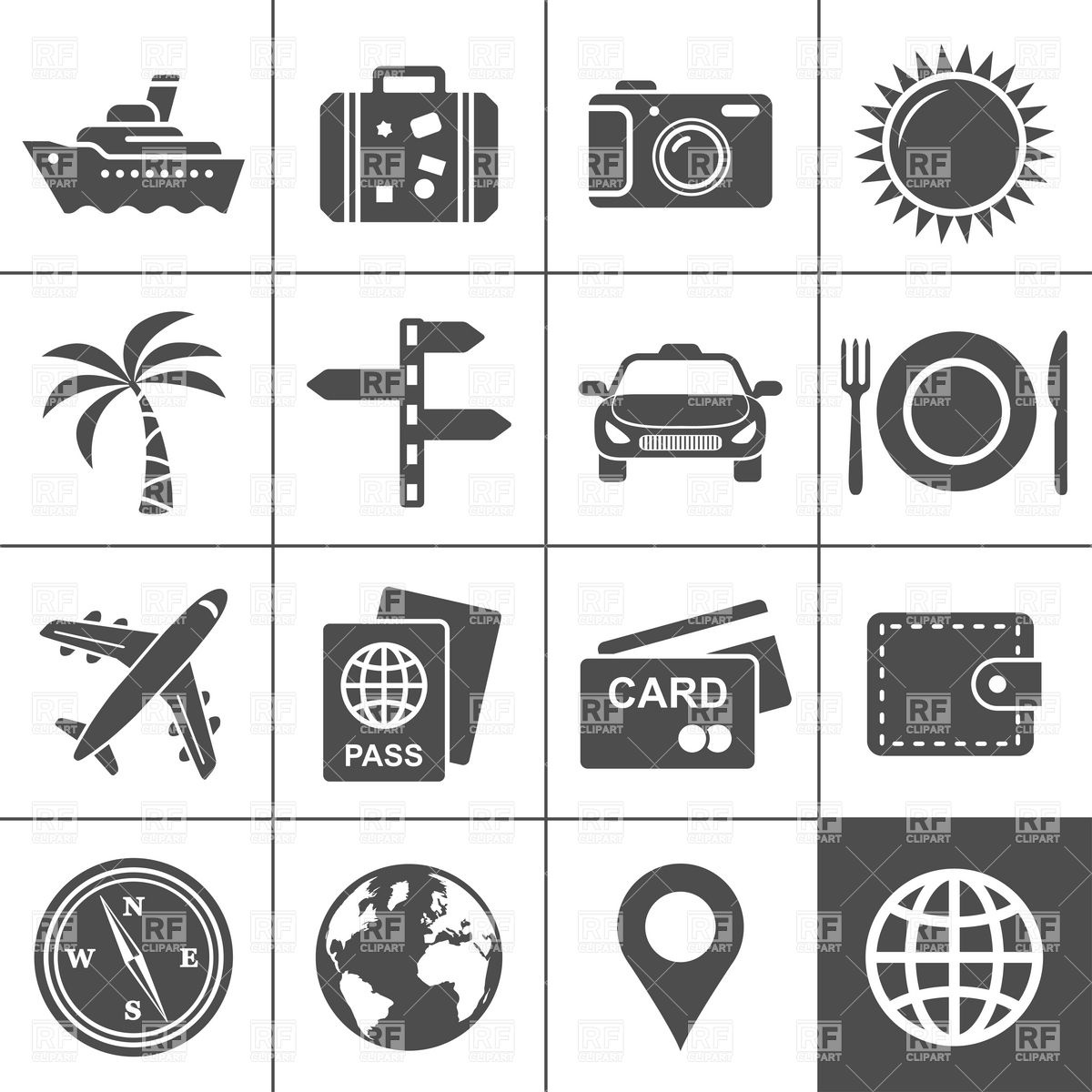 12 Travel Icon Clip Art Images