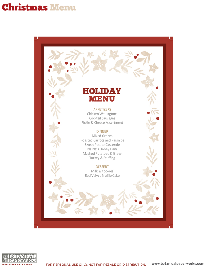 Free Printable Christmas Menu Templates