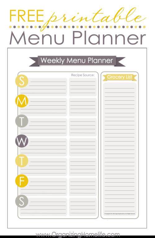 Free Printable Menu Planners