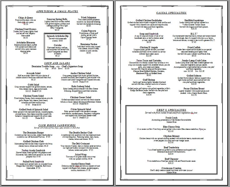 Free Printable Template Restaurant Menus