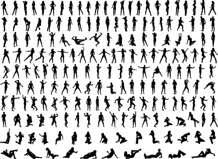 16 Human Walking Silhouette Vector Images