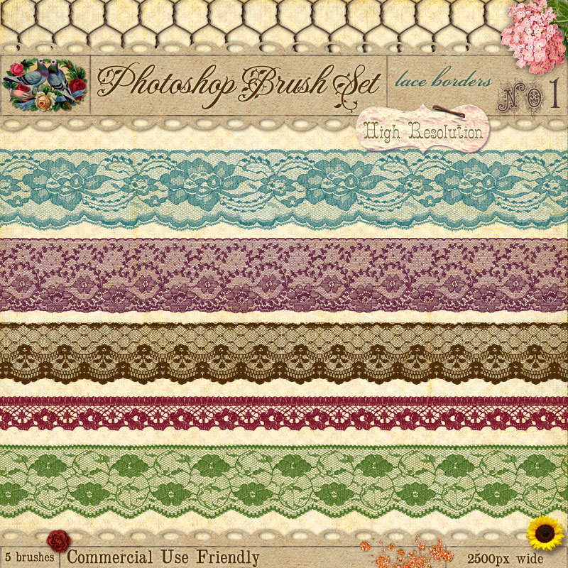 6 Lace Borders Photoshop Images