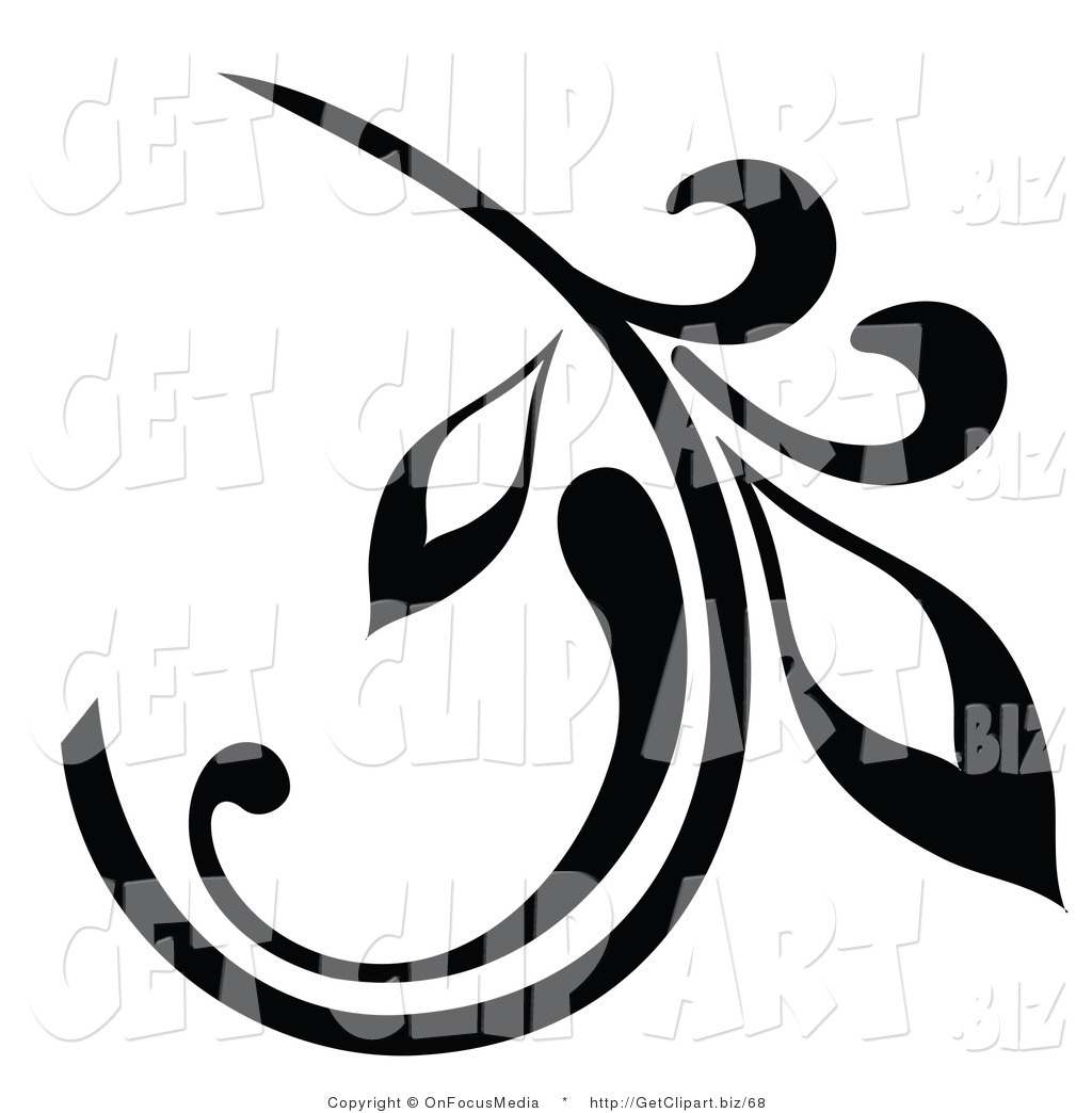 Leaf Scroll Design Clip Art
