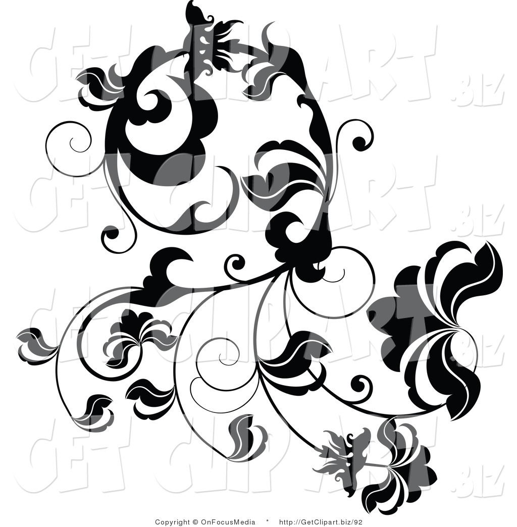 Leaf Vine Clip Art Black and White