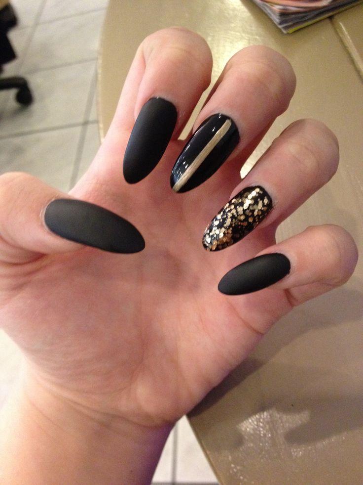 13 Matte Black Acrylic Nail Designs Images