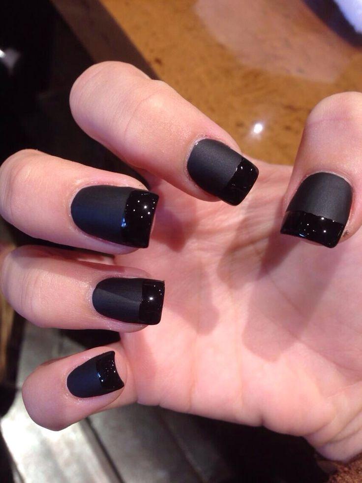 Flat Black Acrylic Nails