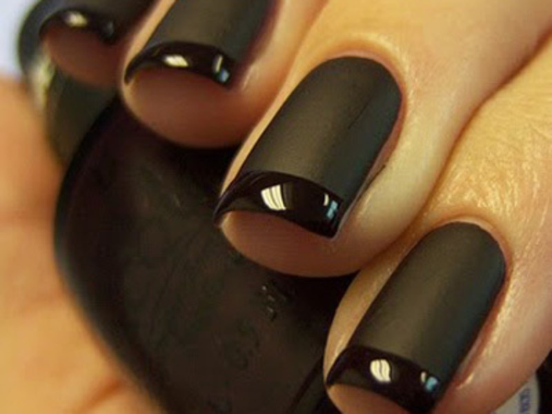 13 Matte Black Nail Polish Designs Images