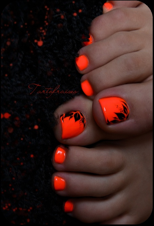 Neon Orange Toe Nail Designs